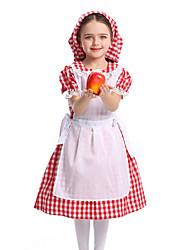 cheap -Oktoberfest Beer Outfits Dirndl Trachtenkleider Women's Girls' Dress Apron Hat Bavarian Costume Red