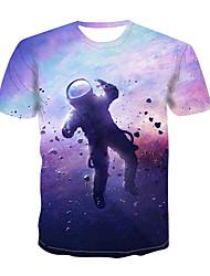 cheap -Men's Plus Size Galaxy 3D Print T-shirt Basic Daily Wear Round Neck Rainbow / Short Sleeve