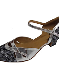 cheap -Women's Modern Shoes / Ballroom Shoes PU Ankle Strap Heel Sparkling Glitter Thick Heel Customizable Dance Shoes Silver Gray / Silver