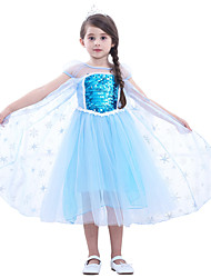 cheap -Elsa Dress Cosplay Costume Flower Girl Dress Girls' Movie Cosplay A-Line Slip Cosplay Halloween Blue Dress Halloween Carnival Children's Day Tulle Paillette Cotton
