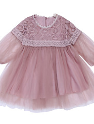 cheap -Baby Girls' Active / Basic Dusty Rose Solid Colored Long Sleeve Dress Blushing Pink / Toddler