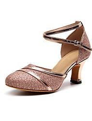 cheap -Women's Modern Shoes / Ballroom Shoes Leather Cross Strap Heel Glitter Cuban Heel Customizable Dance Shoes Black / Gold / Red / Performance / Practice