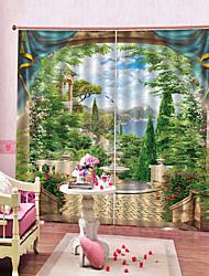 Недорогие -нордический стиль штамп горы и озера у окна hd 3d печать водонепроницаемая защита от света и шторы от морщин спальня гостиная многоцелевые полиэфирные шторы