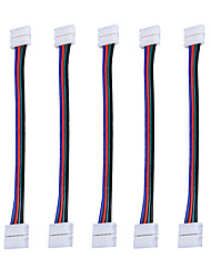 cheap -5 pcs RGB 5050 LED Light Strip Connector 4 Pins 10 mm Wide Strip to Strip Jumper 5-Pack Wire Solderless