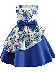 cheap -Kids Toddler Girls' Basic Cute Plants Floral Bow Print Sleeveless Knee-length Dress Blue / Cotton