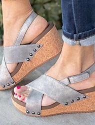 cheap -Women's Sandals Wedge Heel Microfiber Summer Black / Beige / Gray