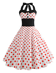 cheap -Audrey Hepburn Country Girl Polka Dots Retro Vintage 1950s Rockabilly Dress Masquerade Women's Costume Pink Vintage Cosplay School Office Festival Sleeveless Medium Length A-Line