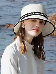 abordables -Polyester Chapeaux de paille avec Détail Perle 1pc Décontracté / Usage quotidien Casque