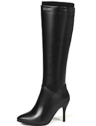 cheap -Women's Boots Knee High Boots Stiletto Heel Pointed Toe PU Knee High Boots Classic Fall & Winter Black / White / Party & Evening