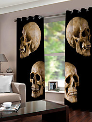 cheap -Wholesale Hallowmas Theme Skulls 3D Digital Printing Window Curtain Luxury Party Curtains Bedroom Living Room  Decorative Blackout 100% Polyester Curtain Fabric