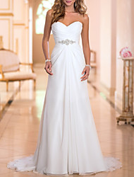 cheap -A-Line Wedding Dresses Strapless Sweep / Brush Train Chiffon Strapless Simple Backless with Crystals 2020