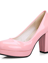 cheap -Women's Heels Chunky Heel PU(Polyurethane) Fall / Spring & Summer Blue / Pink / Almond / Party & Evening