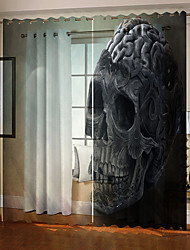 cheap -Wholesale Minatory Skulls 3D Digital Printing Hallowmas Theme Window Curtain Luxury Party Curtains Bedroom Living Room  Decorative Blackout 100% Polyester Curtain Fabric
