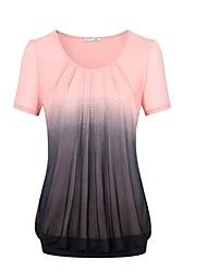 cheap -Women's Daily Wear Cotton T-shirt - Color Block Green