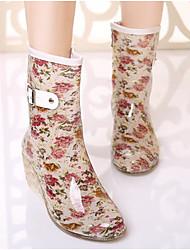 cheap -Women's Boots Rain Boots Wedge Heel PVC Mid-Calf Boots Spring Black / Light Pink