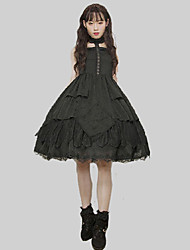 cheap -Gothic Style Gothic Lolita Gothic Dress Party Costume Cocktail Dress Party Dress Female Japanese Cosplay Costumes Black Solid Colored Stitching Lace Lace Sleeveless Sleeveless Midi