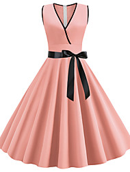 cheap -Women's Going out Vintage 1950s Slim Chiffon Dress - Solid Colored Dusty Rose, Bow V Neck Black Purple Blushing Pink S M L XL