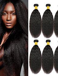 cheap -6 Bundles Brazilian Hair kinky Straight Virgin Human Hair Human Hair Headpiece Natural Color Hair Weaves / Hair Bulk Extension 8-28inch Natural Color Human Hair Weaves Odor Free Classic Easy dressing