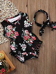 cheap -Baby Girls' Active / Basic Floral / Print Print Short Sleeves Bodysuit Black