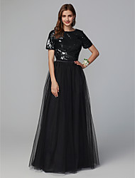 cheap -A-Line Jewel Neck Floor Length Tulle / Sequined Bridesmaid Dress with Sequin / Sparkle & Shine
