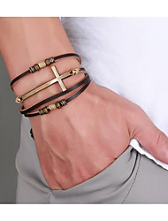 cheap -Men's Leather Bracelet Braided Cross Happy Stylish PU Leather Bracelet Jewelry Coffee For Daily Holiday