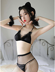 cheap -Women's Women Uniforms Girl Adults' More Uniforms Outfits Solid Color Sexy Underwear Stockings Briefs / Headwear