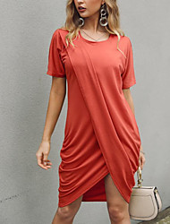 cheap -Women's Above Knee Maternity Wine Blushing Pink Dress Basic Shift Solid Colored S M