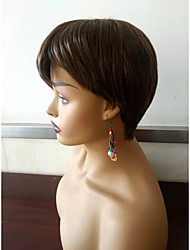 cheap -Synthetic Wig Straight Style Pixie Cut Capless Wig Dark Brown Synthetic Hair 6 inch Women's Women Synthetic Brown Wig Short Clytie