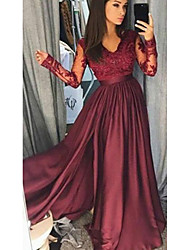 cheap -V Neck Floor Length Lace / Satin Bridesmaid Dress with Lace / Split Front