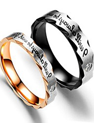 cheap -Men's Women's Band Ring Ring Tail Ring 1pc Black Rose Gold Stainless Steel Titanium Steel Circular Basic Fashion Gift Daily Jewelry Letter Cool