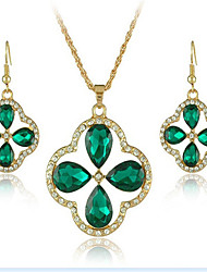 cheap -Women's Crystal Bridal Jewelry Sets Geometrical Flower Fashion Gold Plated Earrings Jewelry Green For Party Daily 1 set