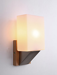 cheap -Modern Minimalist Solid Wood Wall Lamp Study Background Wall With Bulb