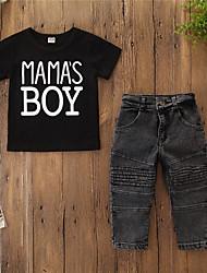 cheap -Baby Boys' Active / Basic Print Print Short Sleeve Regular Clothing Set Black