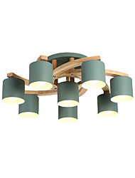 cheap -8-Light Chandeliers Metal Lampshade Modern Cute Pendant Light Fixtures Semi Flush Wooden Ceiling Light Round Shape For Living Room Dining Hall 8 Lights Green