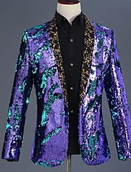 abordables -Disco Années 80 Smoking Homme Paillettes Costume Noir / Doré / Violet Vintage Cosplay Fête scolaire Manches Longues