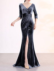cheap -Mermaid / Trumpet Plunging Neck Sweep / Brush Train Velvet Elegant & Luxurious / Furcal Formal Evening Dress 2020 with Split Front
