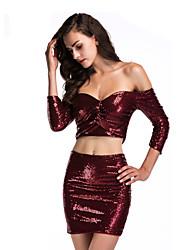 cheap -Diva Disco 1980s Dress Women's Sequins Costume Burgundy / Pink Vintage Cosplay Prom 3/4 Length Sleeve Above Knee Sheath / Column