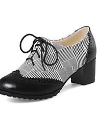 cheap -Women's Oxfords Chunky Heel PU(Polyurethane) Fall / Spring & Summer Black / Brown