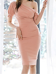cheap -Women's Skinny Bodycon Dress - Solid Colored Dusty Rose Halter Neck Blushing Pink M L XL