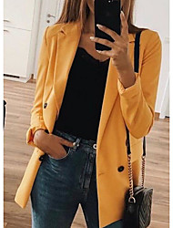 cheap -Women's Blazer, Solid Colored V Neck Polyester Black / Blushing Pink / Yellow / Slim