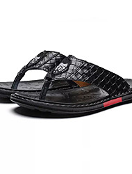 cheap -Men's Comfort Shoes PU Summer Casual Slippers & Flip-Flops Non-slipping Black / White