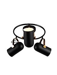 cheap -Vintage 3-Head Metal Ceiling Light Antique 3-Light Black Metal Ceiling Lighting Fixture Head Adjustable Flush Mount Ceiling Lamp