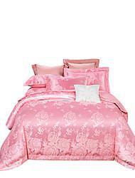 Недорогие -розовая цветочная блестящая принцесса 250т люкс премиум-отель жаккард из чистого хлопка сантен шелк из четырех частей постельного белья