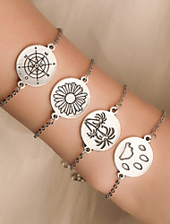 cheap -4pcs Women's Vintage Bracelet Layered Flower Coconut Tree compass Simple Classic Vintage Ethnic Fashion Alloy Bracelet Jewelry Silver For Daily School Street Holiday Festival