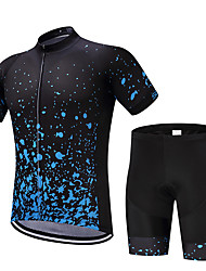 cheap -FUALRNY® Men's Short Sleeve Cycling Jersey with Shorts Black Bike Moisture Wicking Quick Dry Sports Reactive Print Mountain Bike MTB Road Bike Cycling Clothing Apparel / Stretchy