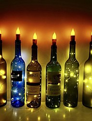 cheap -Flame Candle LED Cork Lights Wine Bottle DIY 6pcs Firefly Craft Bottle Lights for Wedding Festival Party Holidays Christmas Decoration