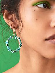 abordables -Femme Turquoise Boucle d'Oreille Pendantes Géométrique Boule Artistique Naturel Tropical Des boucles d'oreilles Bijoux Rouge / Turquoise Pour Mariage Carnaval Festival 1 paire
