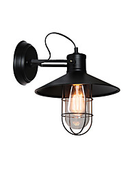 cheap -Rotatable Wall Sconce Round American Vintage Wall Light Fixture Industrial Retro Metal Wall Lamp Cage Shade Black Finish Iron Wall Sconce Plug in for Bar Hallway Warehouse