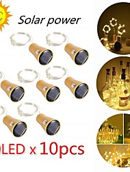 cheap -10 Pcs 2M 20LED Solar Powered Wine Bottle Cork Shaped LED Copper Wire String Outdoor Light Garland Lights Festival Outdoor Fairy Light Wedding Party Decor