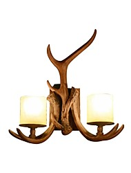 cheap -Retro Style Rustic Indoor Light Wood-Like Resin Antler Wall Light Ground Glass 2-Light Wall Sconce Lighting